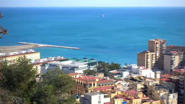 Panorama of La Malagueta, port and central part of Malaga. Malaga is municipality in Community of Andalusia, Spain. Southernmost large city in Europe, it lies on Costa del Sol of Mediterranean.
