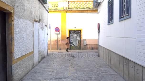 Buildings on Juan de la Encina Street in Seville, Andalusia, Spain. Seville is situated on plain of river Guadalquivir.