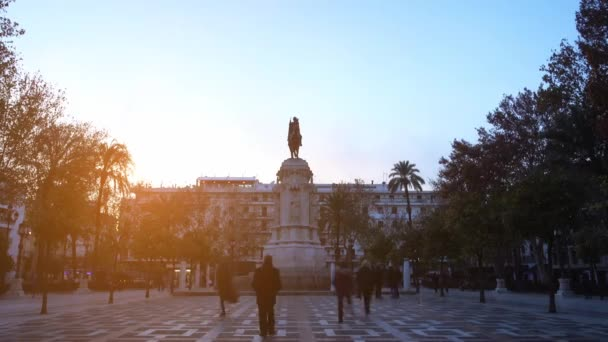 Monument of Fernando III El Santo on Plaza Nueva in Seville, Spain.