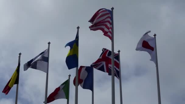 Flags of different countries against sky: USA, Great Britain, Finland, Japan, France, Sweden, Italy, Chad.