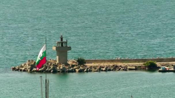 Bulgarian flag in the Black Sea port city of Sozopol near Burgas in Bulgaria.