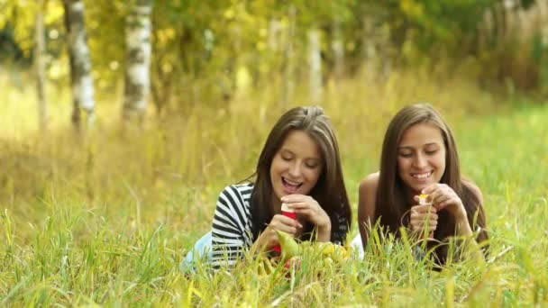 Two beautiful young women lie on green grass and inflate soap bubbles.