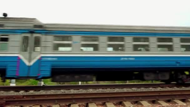 Suburban passenger train rides against background of summer countryside.