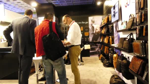 IFA, BERLIN - SEPTEMBER 5 2016: Pavilion bags and backpacks at International radio exhibition Berlin, Messe, Germany.