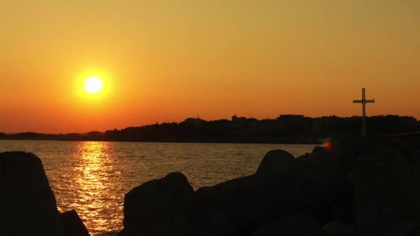 Beautiful sunset in town of Nessebar, Bulgaria on Black Sea coast.