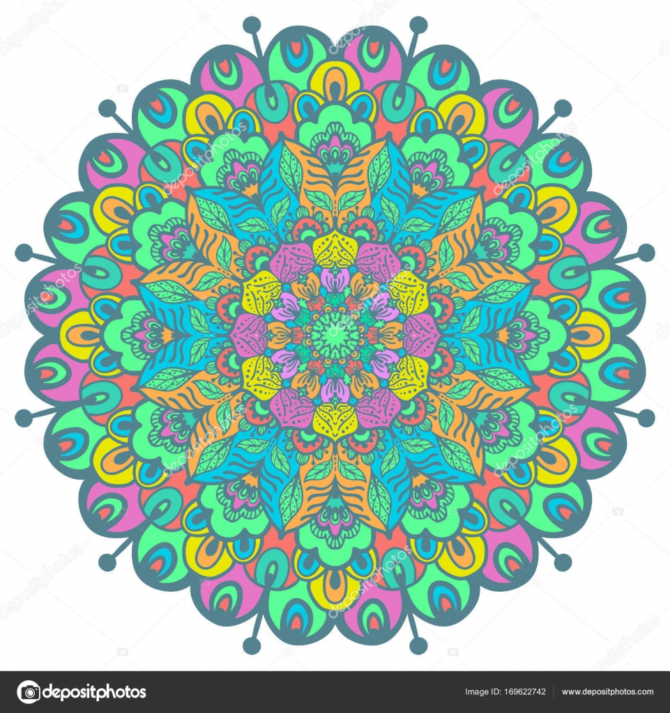 flower color mandala stock vector vasilek 169622742