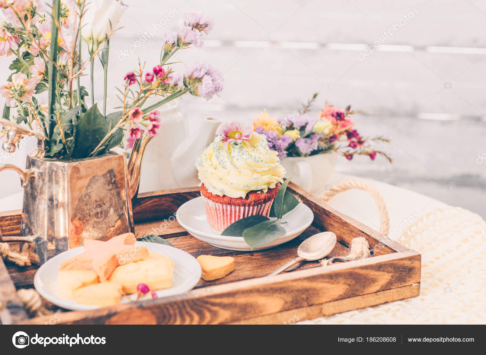 Cakes On Beautiful Wooden Tray With Flowers Stock Photo Vasilek