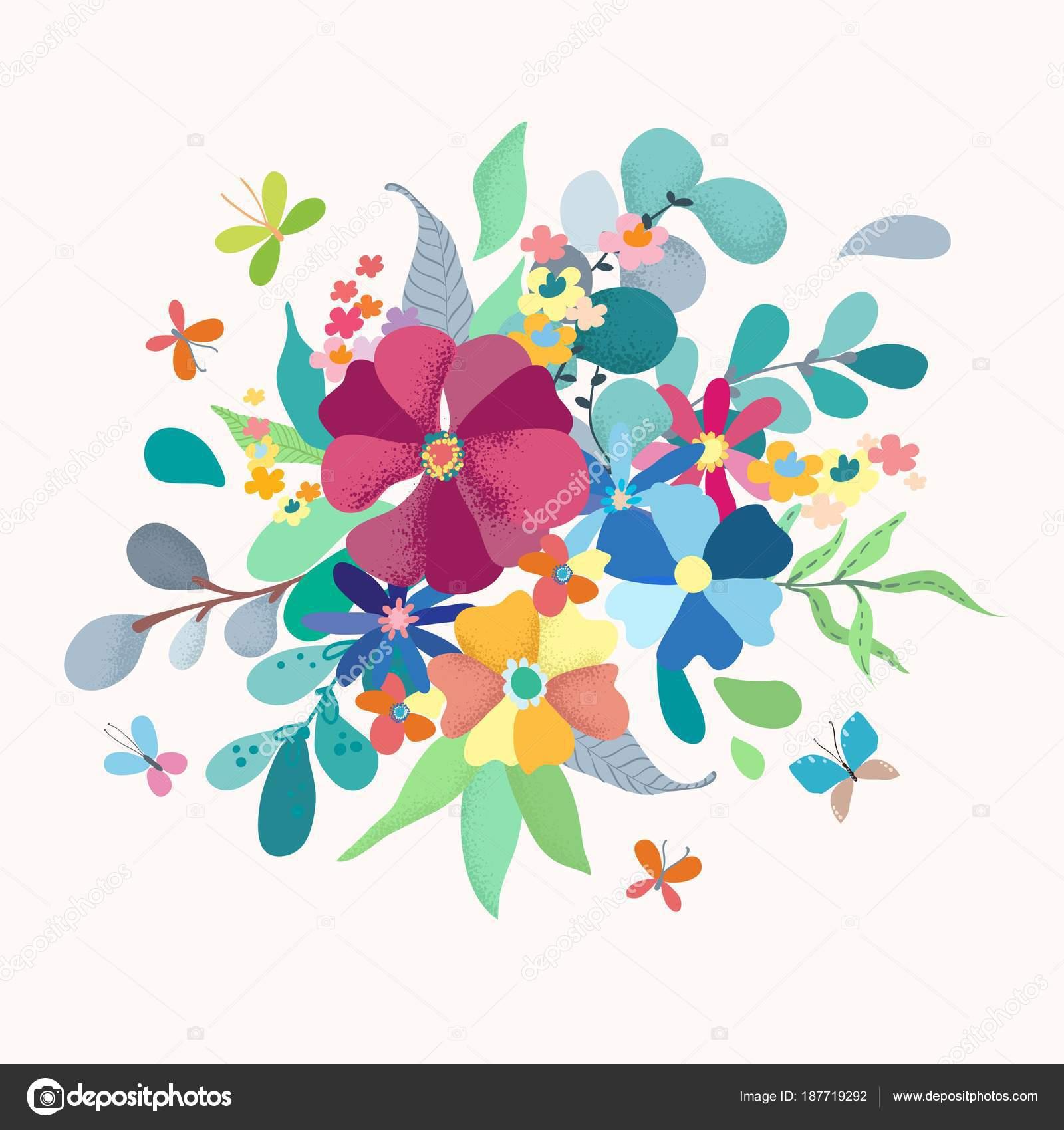 Blumenstrauß mit einfachen Farbe Blumen — Stockvektor © Vasilek ...