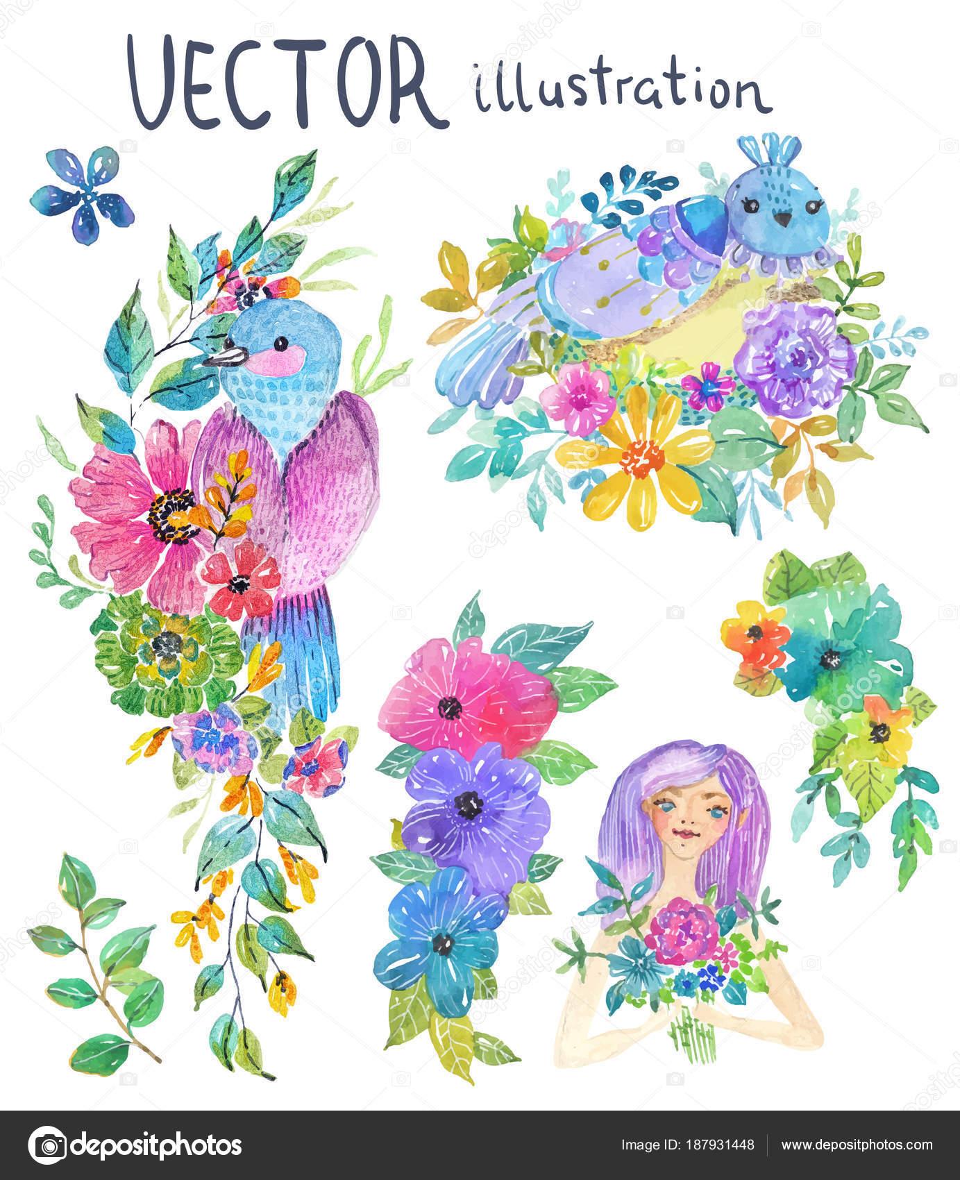 Aquarell Farbe Blumen, Blätter und Schmetterling — Stockvektor ...