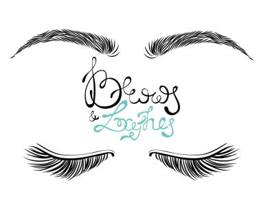 Illustration of beautiful female long eyelashes and brows