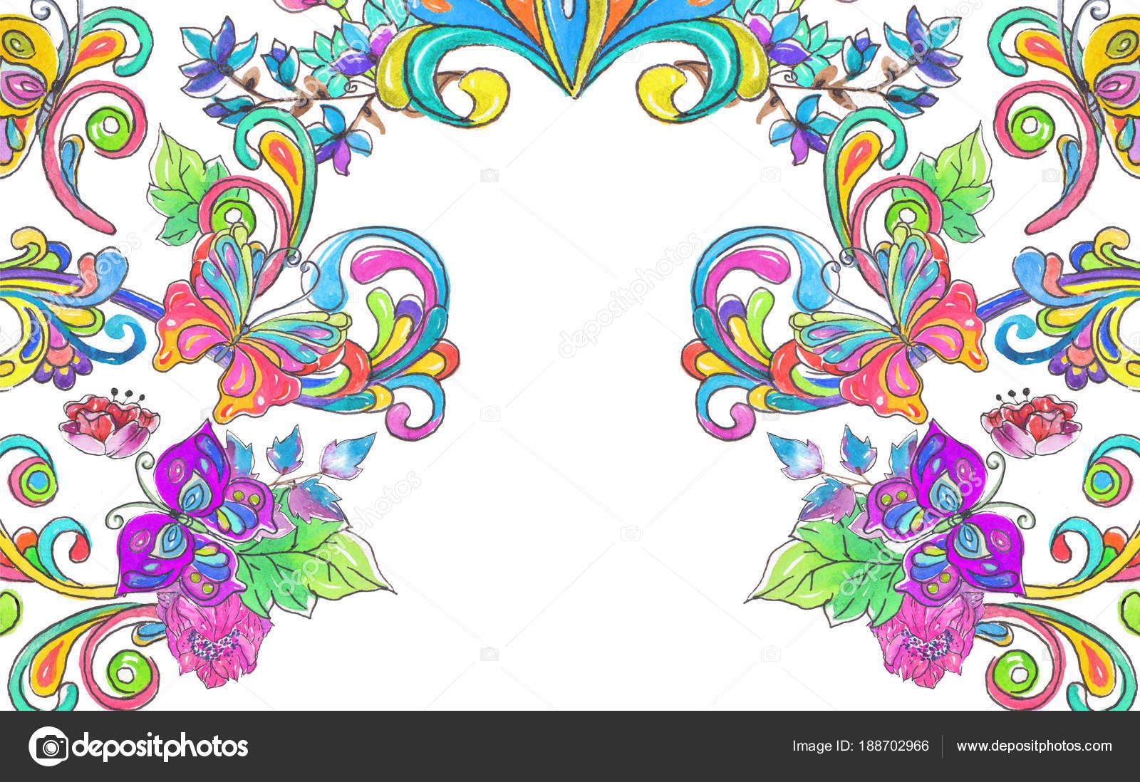 Marco De Flores Dibujadas A Mano Con Las Mariposas
