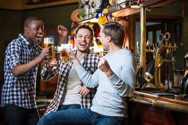 Happy men indoors