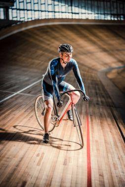 Athlete at velodrome