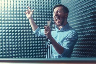Singing man indoors