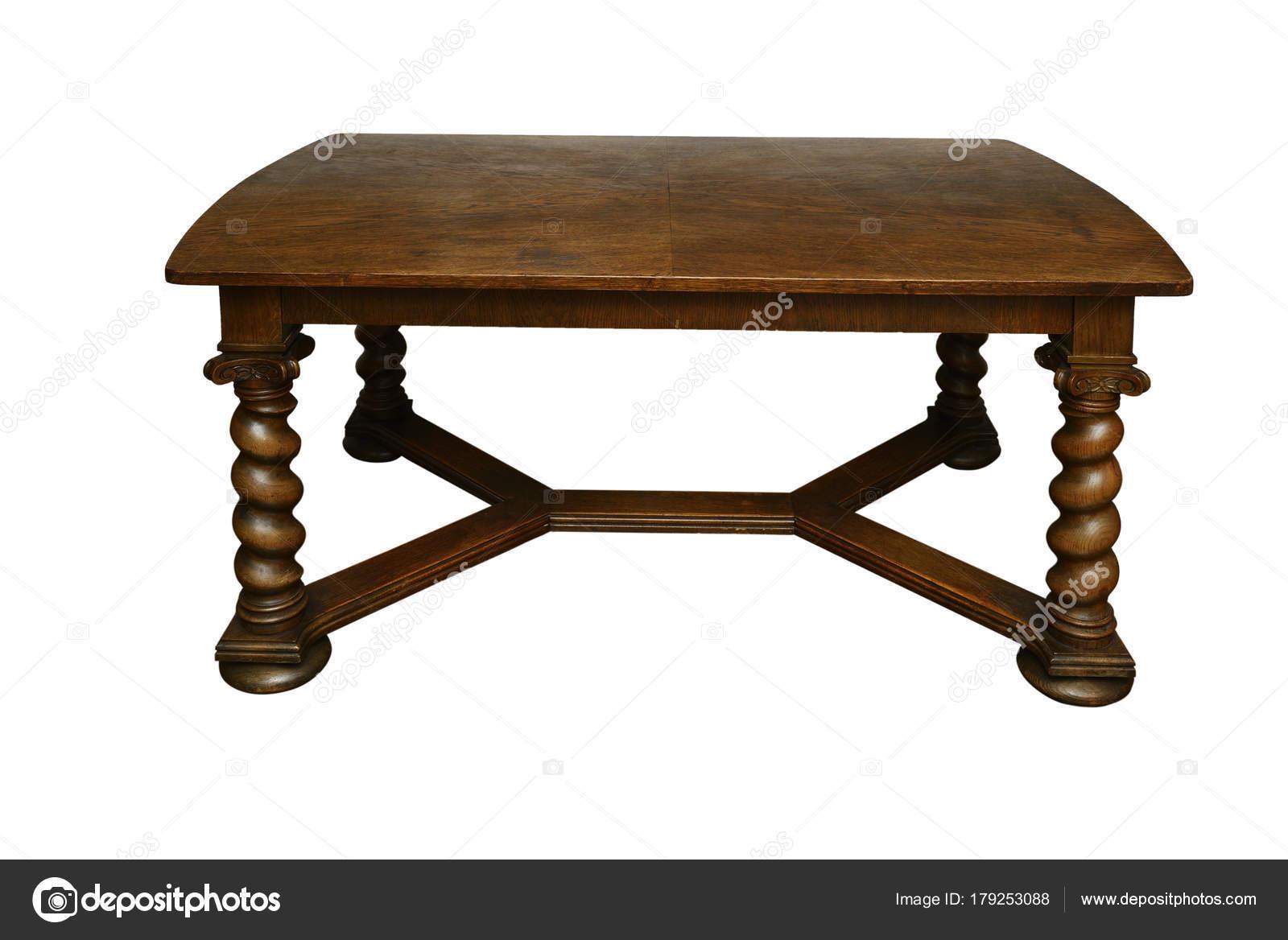 Wit Eiken Tafel : Antieke eiken tafel met gedraaide poten op een wit u stockfoto