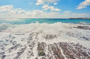 Storming sea and wide-spreading waves, Cyprus