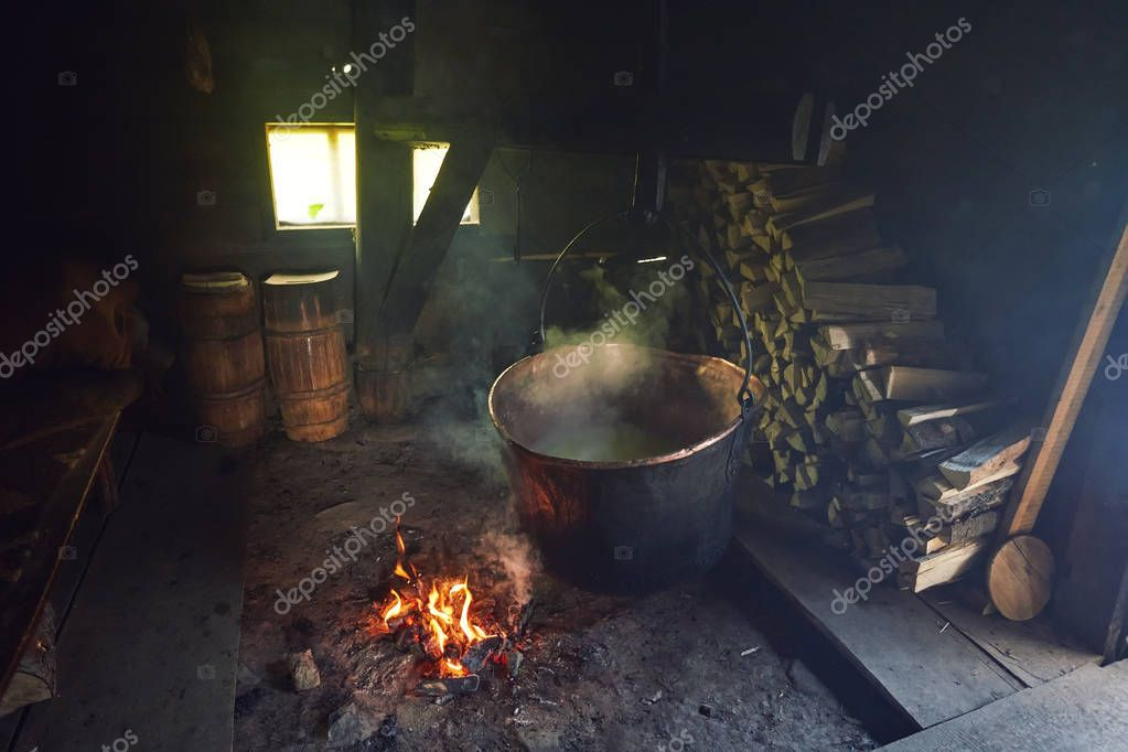 Room used for production and smoking of cheese in a farm on the mountains