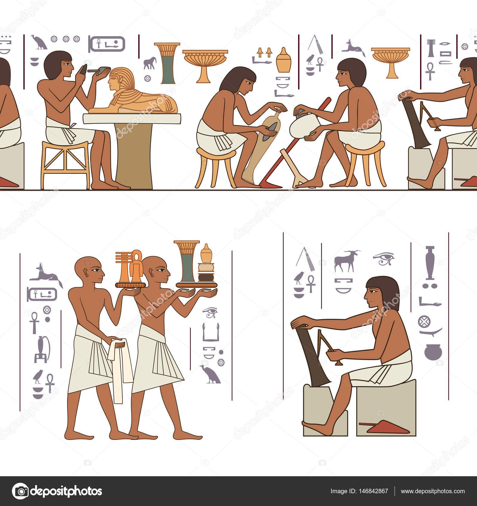 Estilizado Fondo De La Cultura Antigua Murales Con Escena De Egipto