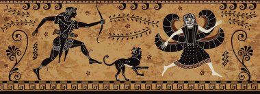 Ancient greek painting.Pottery art.Stylized ancient greek background.