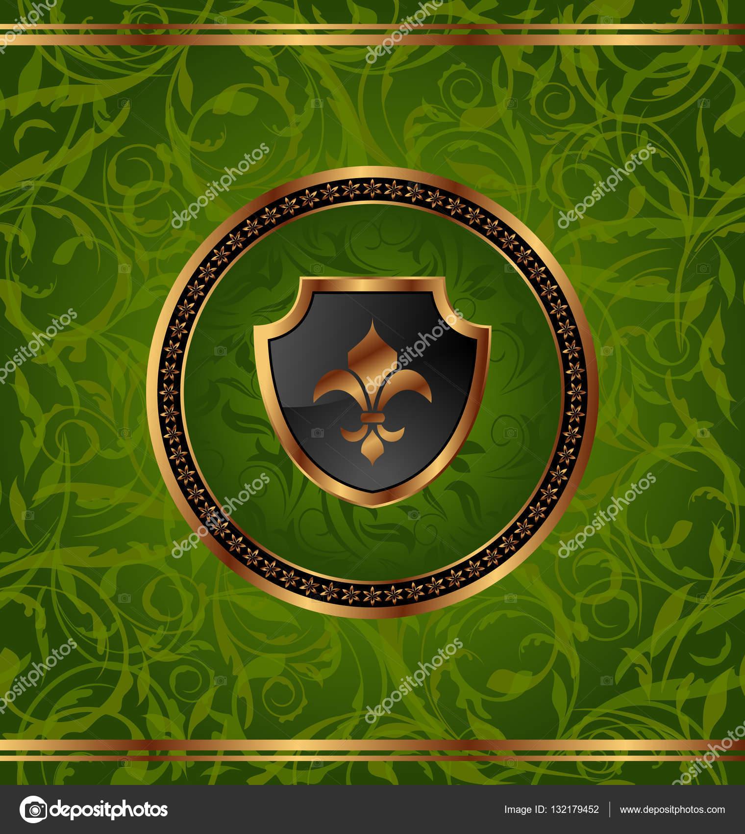 marco real de oro con medallón y fleur de lis para pa diseño — Foto ...