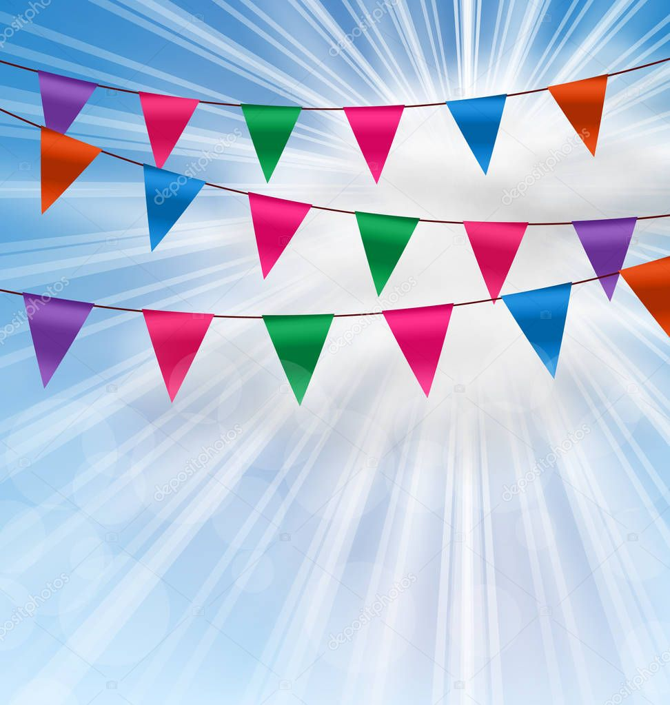 Party Background with Buntings Flags Garlands