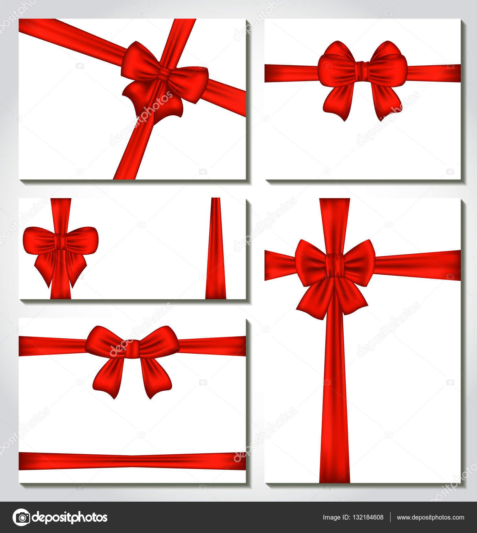 Set Di Fiocchi Regalo Rosso Per Il Disegno Di Imballaggio Foto