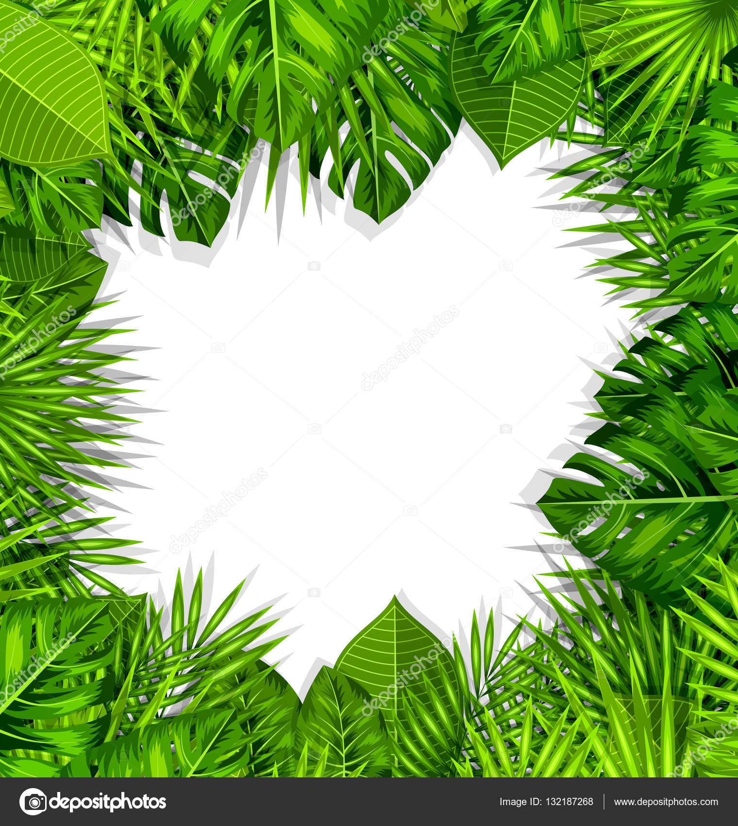 Natural Frame with Green Tropical Leaves — Stock Photo © smeagorl ...