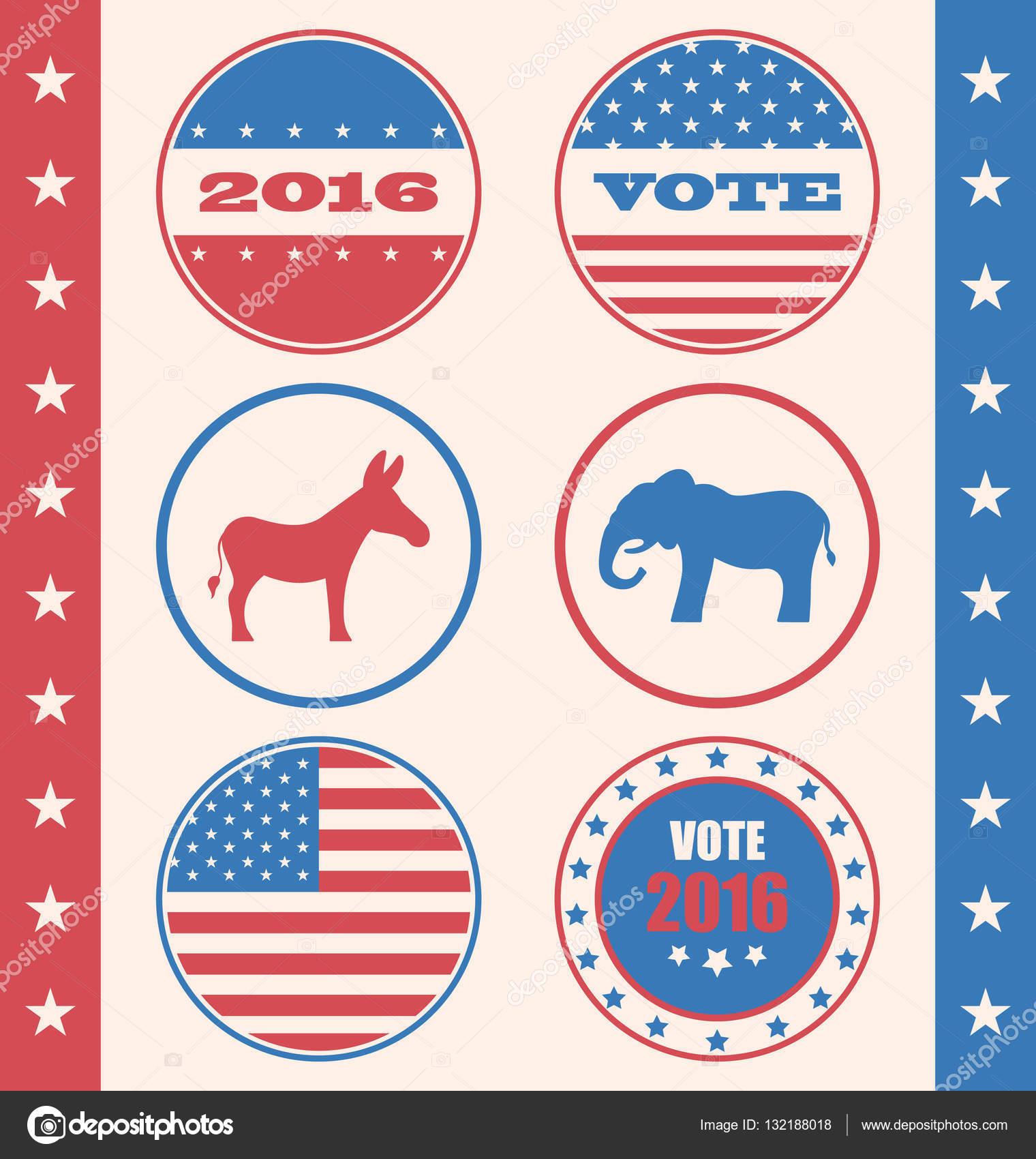 Estilo retro del botón de voto o elección de campaña — Foto de ...