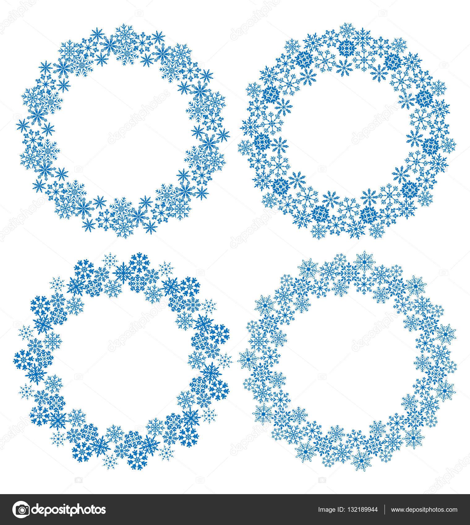 Los copos de nieve del círculo marcos para Navidad — Foto de stock ...