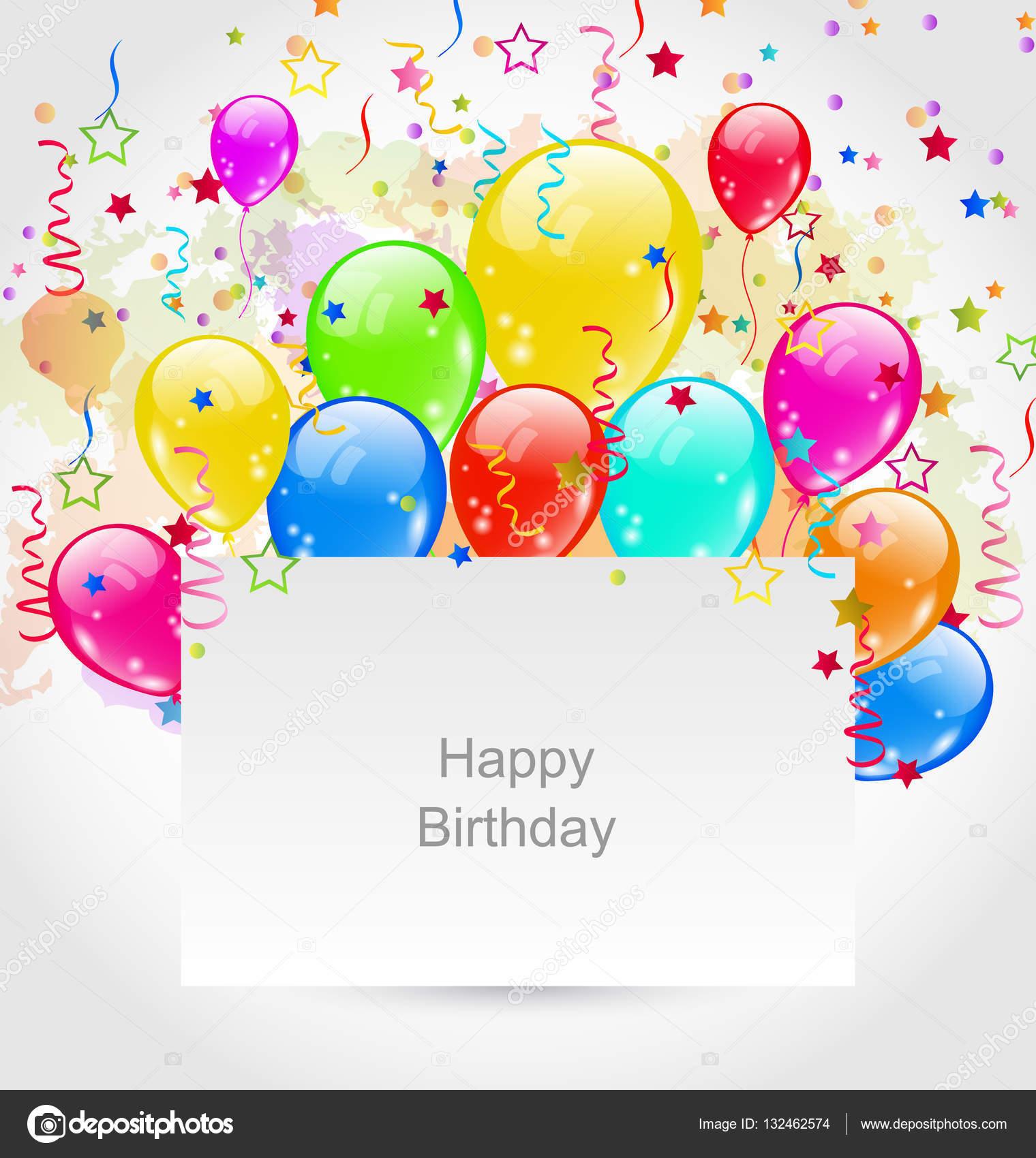 geburtstag mit bunten luftballons und konfetti — stockfoto #132462574, Einladungen