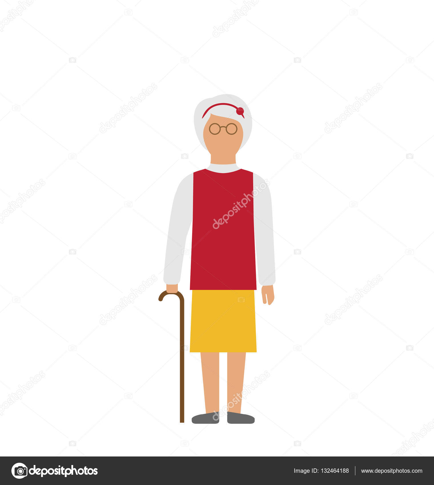 Mujer caminando con bastón aislado sobre fondo blanco — Fotos de ...