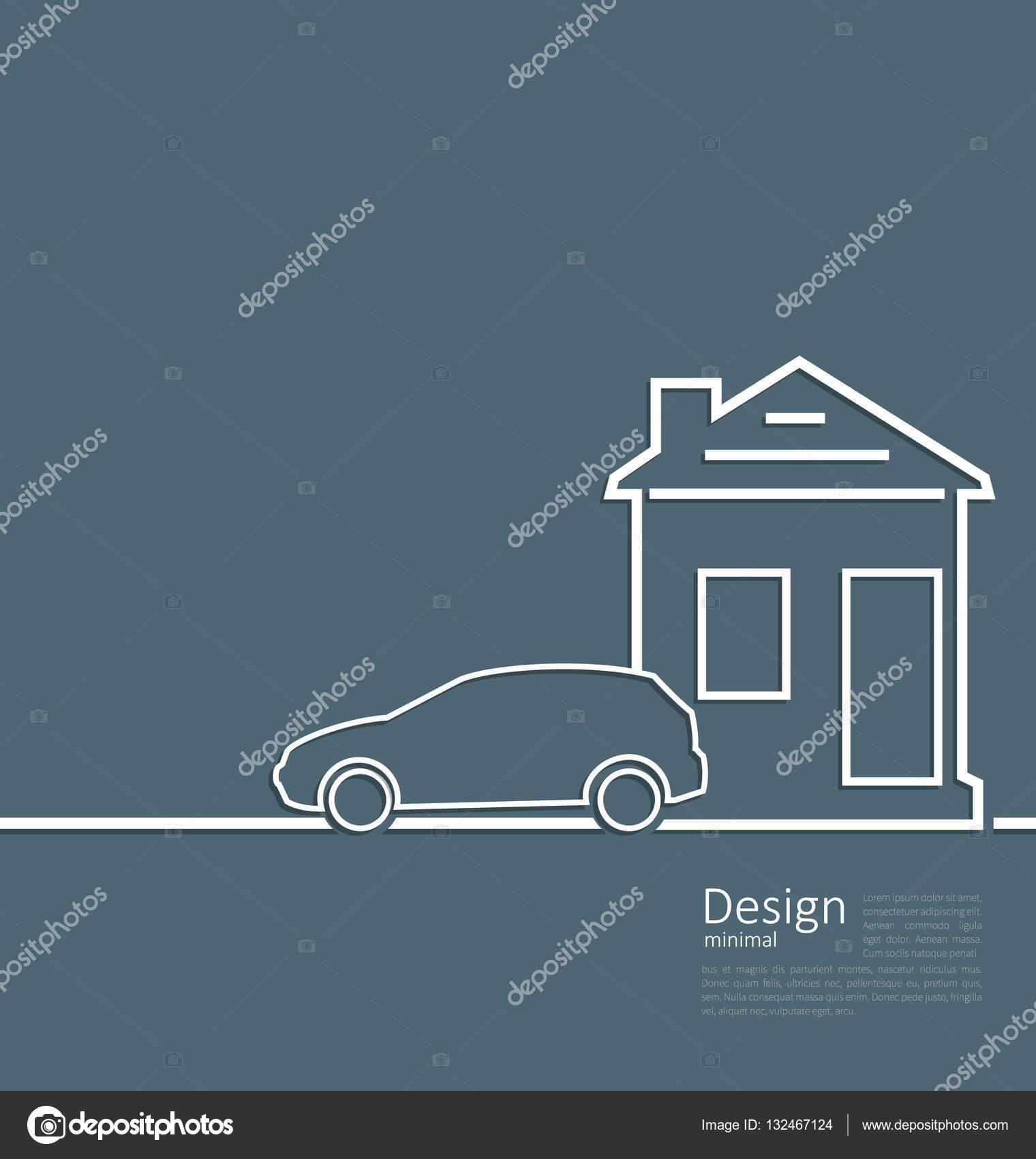 Casa de plantilla Web e insignia del coche del aparcamiento en ...