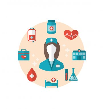 Nurse with medical icons for web design, modern flat style
