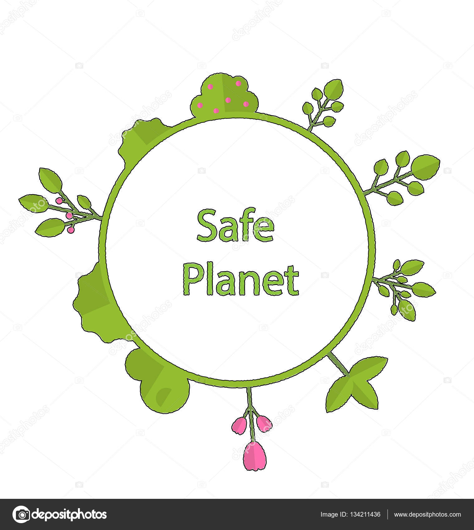 Frame form circle green earth plant flower cry safe planet — Stock ...