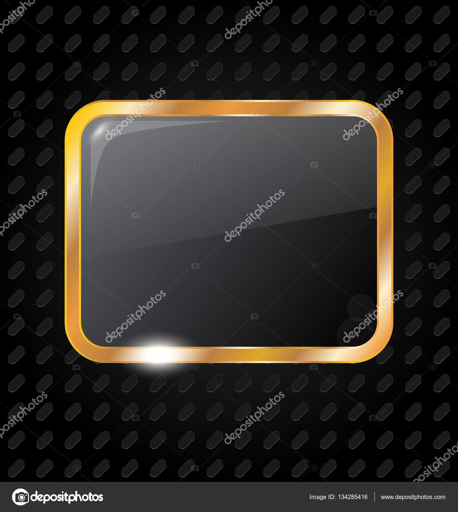 marco rectángulo dorado aislado sobre fondo de aluminio — Foto de ...