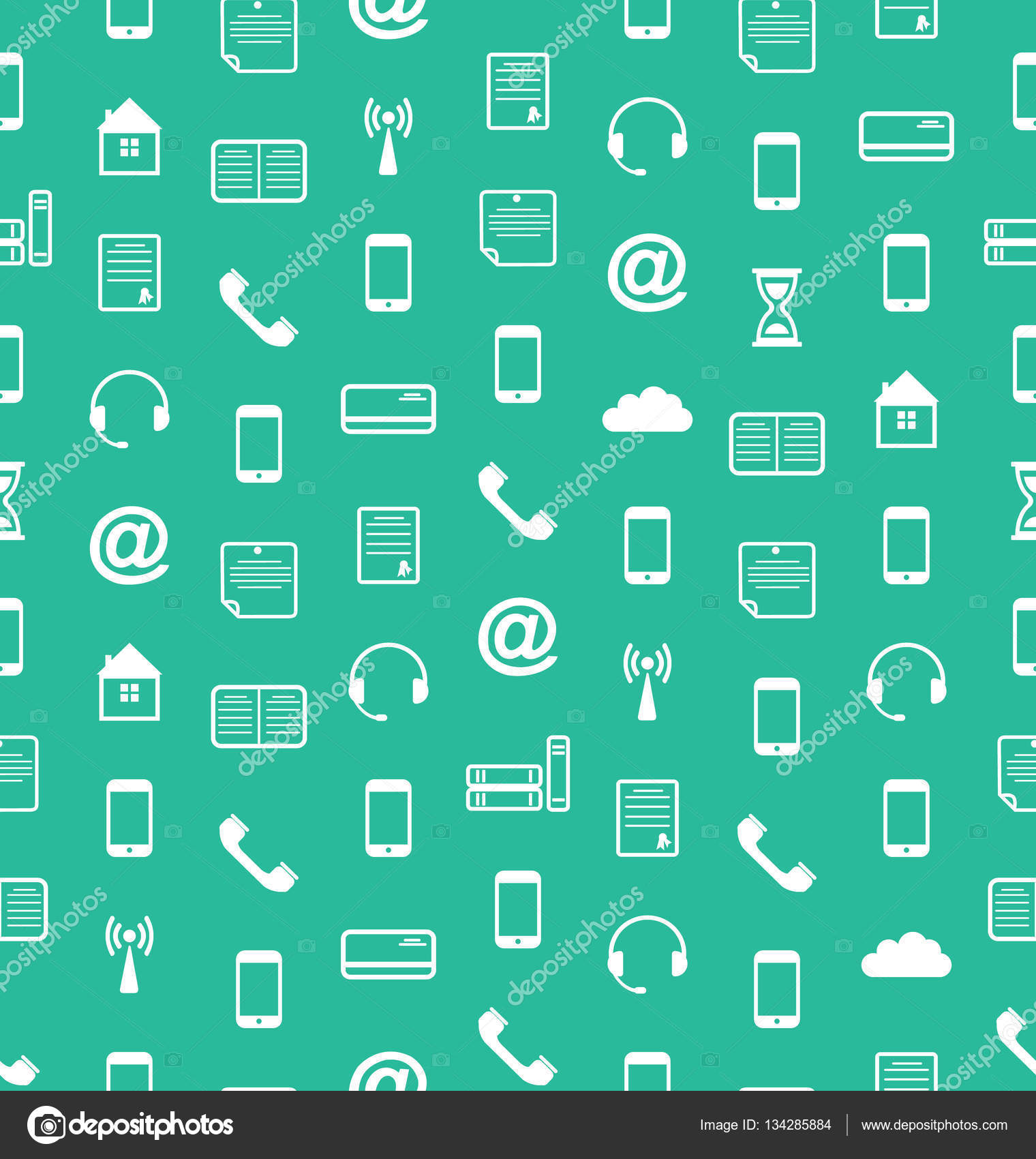 Seamless Pattern With Business And Financial Flat Icons Endless Wallpaper Stock Photo