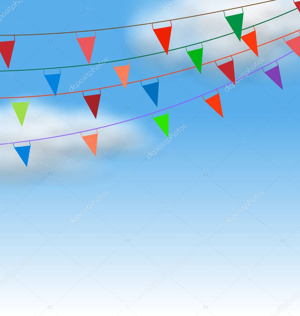 Multicolored Buntings Flags Garlands