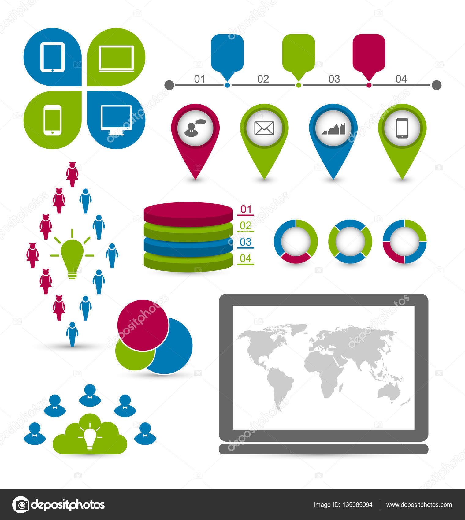 las estadísticas sociales set de infografía — Foto de stock ...