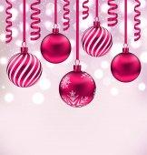 Třpytivé pozadí vánoční koule a návazce