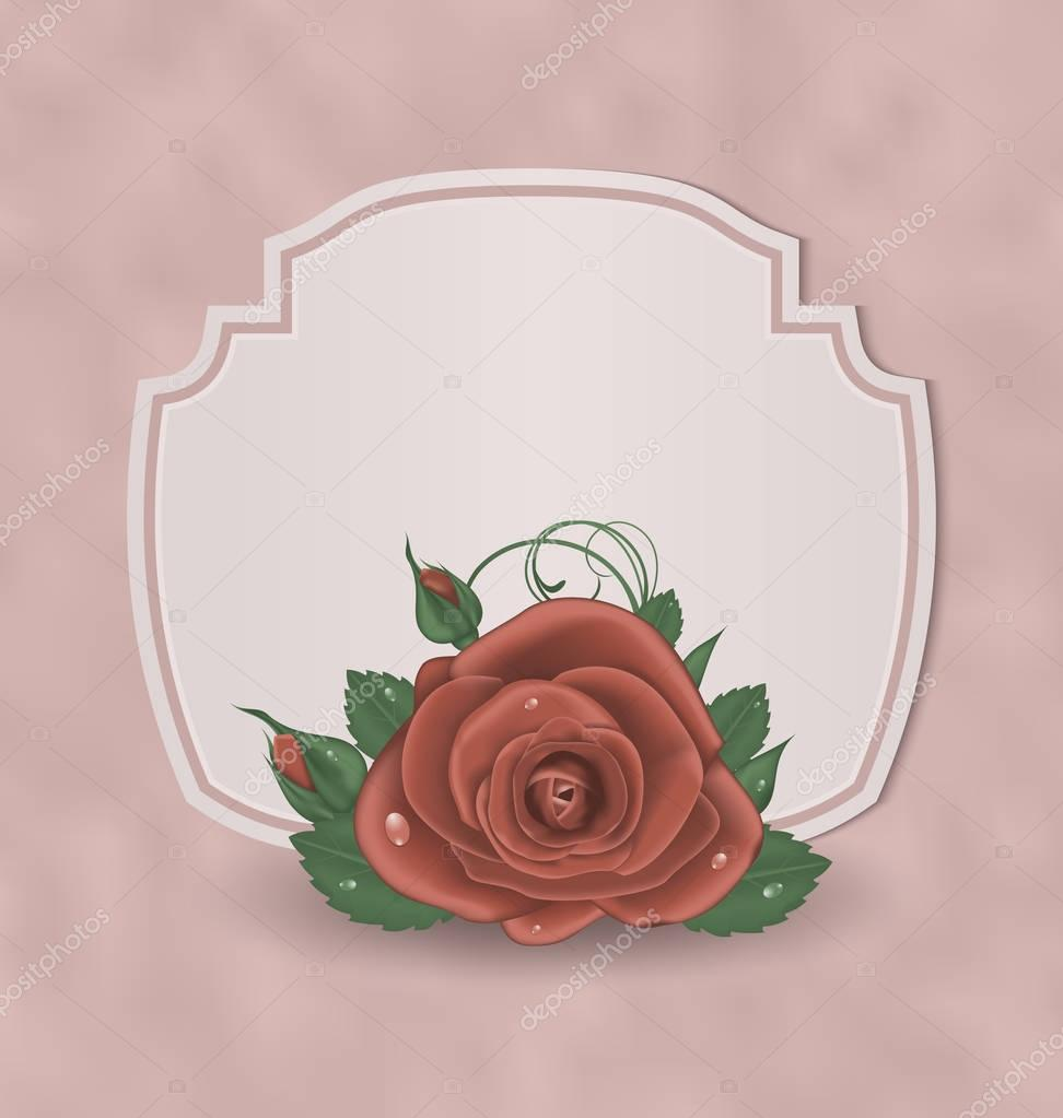 Retro cute card with red rose