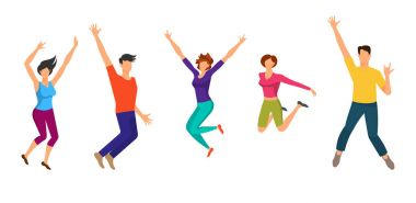 Jumping Boys and Girls. Happiness People Isolated