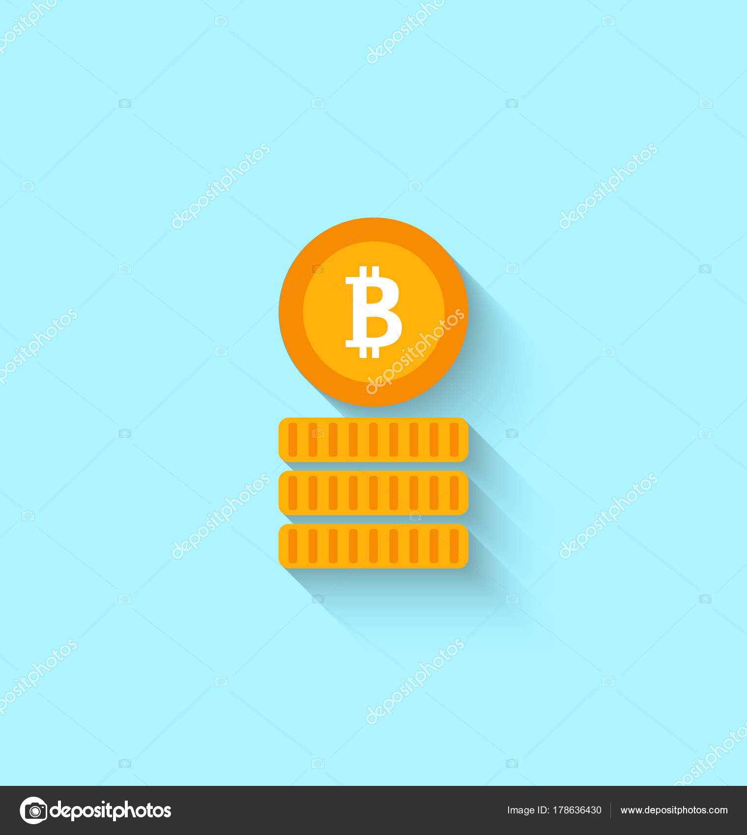 Bitcoin Sign For Internet Money Crypto Currency Symbol Simple Flat