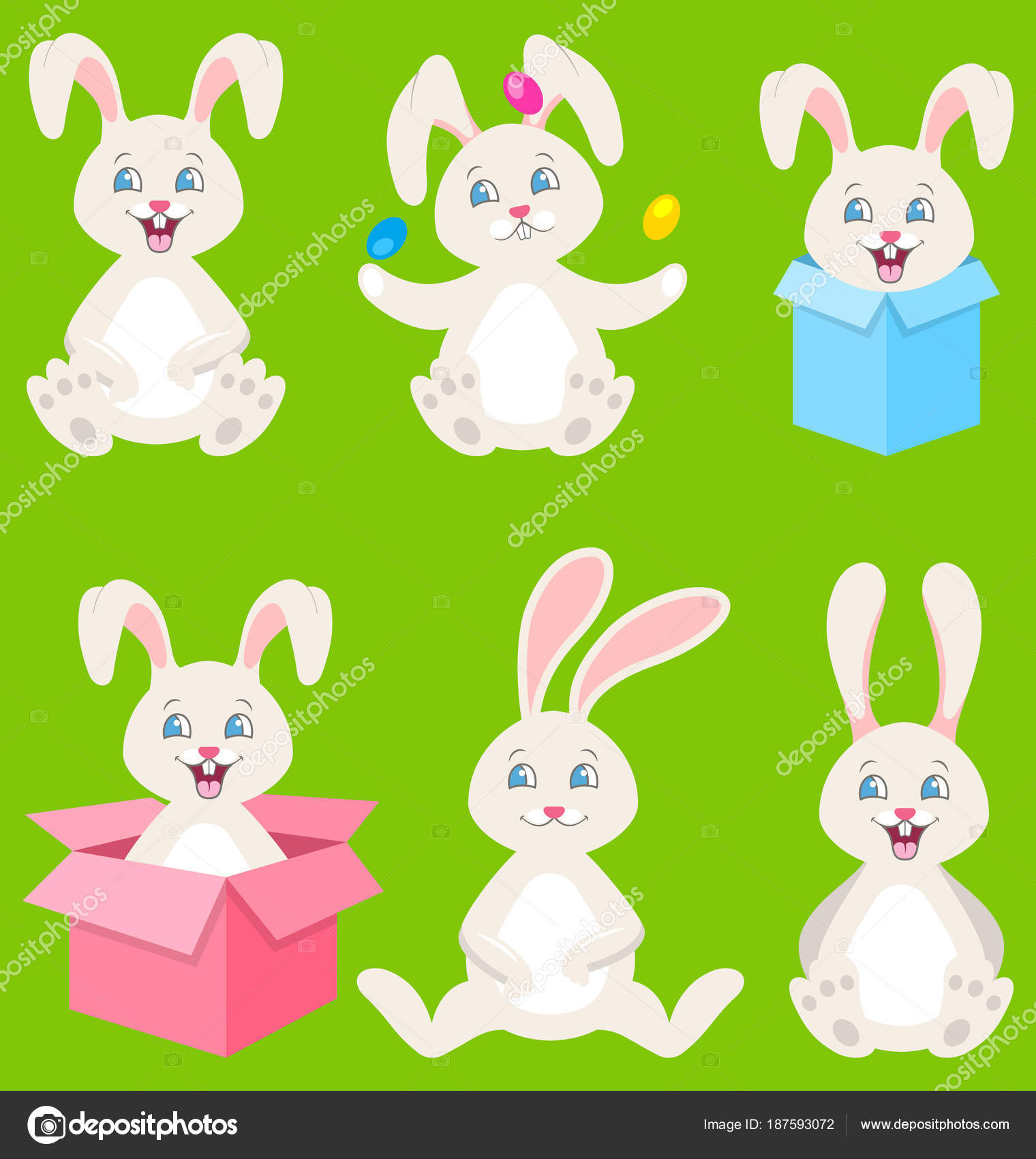 Collection happy easter bunnies with eggs gift boxes cute rabbits collection happy easter bunnies with eggs gift boxes cute rabbits illustration vector vector by smeagorl negle Image collections