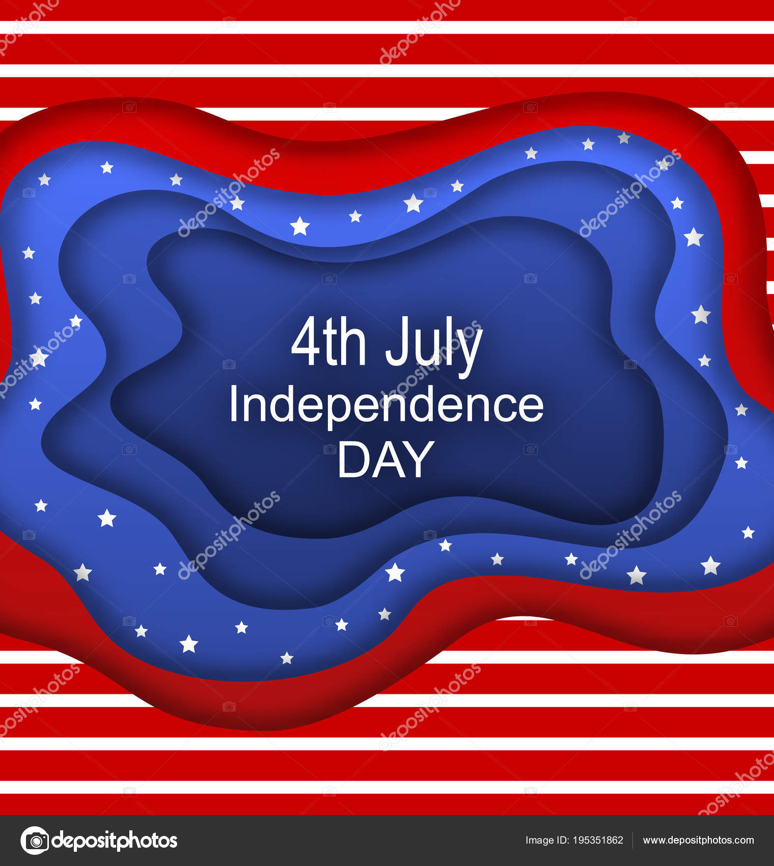 invitation for fourth of july independence day of the usa cut paper