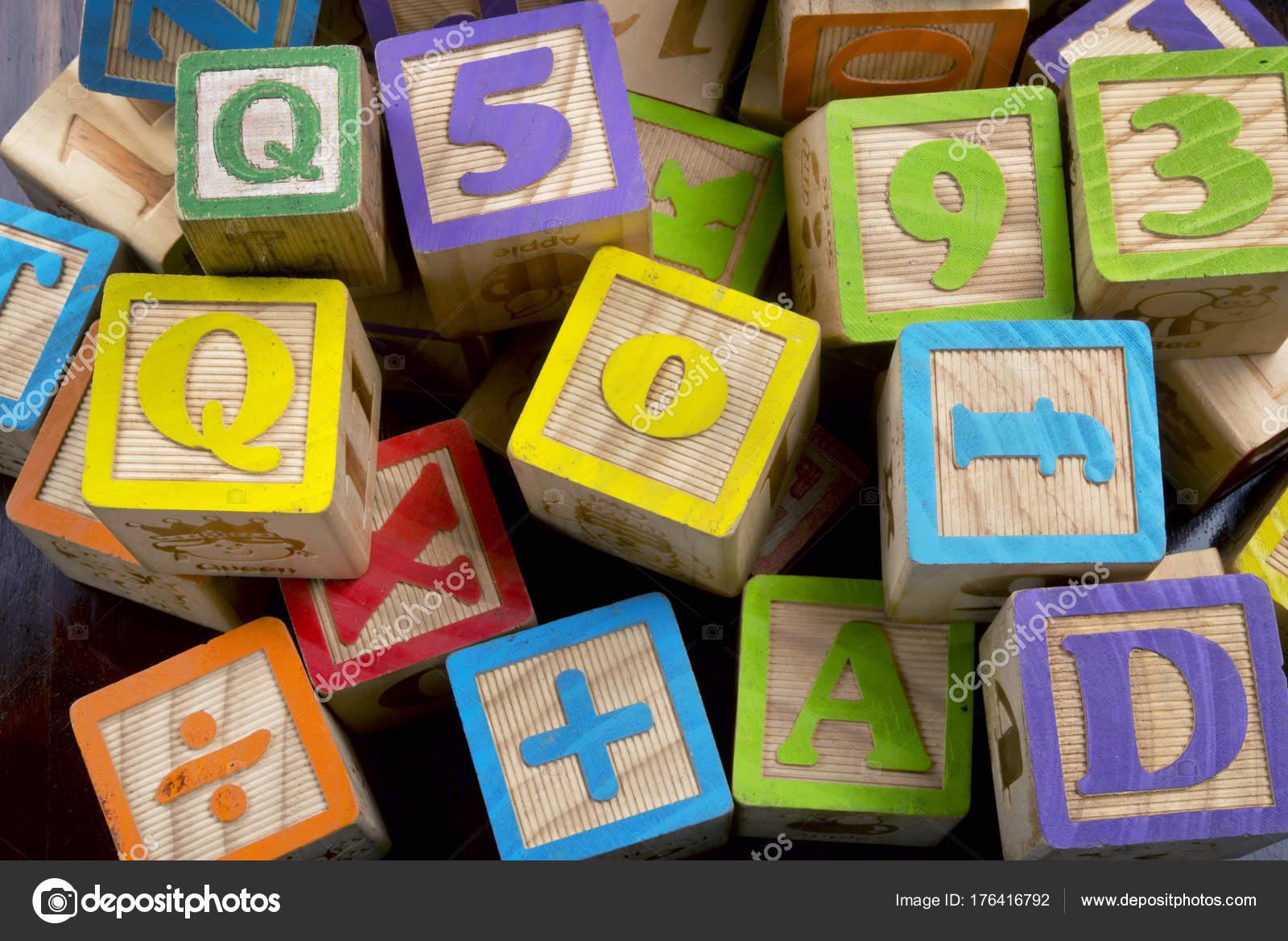 wooden letter blocks stock photo
