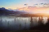 zamlžené západ slunce nad horami