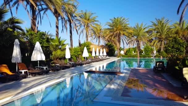 Tropical hotel yard at summer