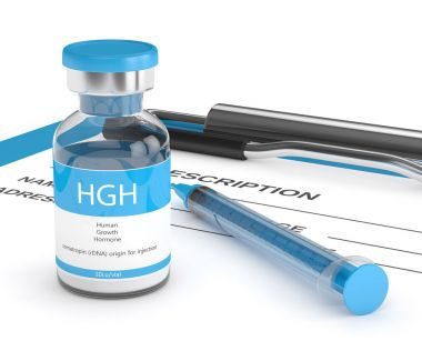 3d render of HGH vial with syringe on clipboard
