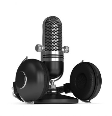 3d render of microphone with headphones
