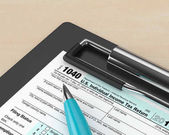 3d rendering of 1040 individual income tax return form